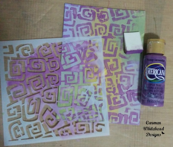 Mardi Gras inspired canvas board created with The Crafter's Workshop stencils by www.carmenwhitehead.com