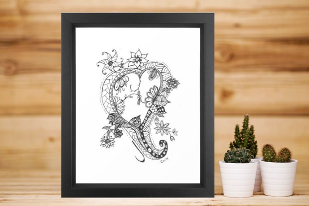 Doodled heart with flowers, instant download, created by Carmen Whitehead Designs
