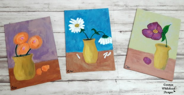 5 x 7 Canvas boards - Yellow Vase collection