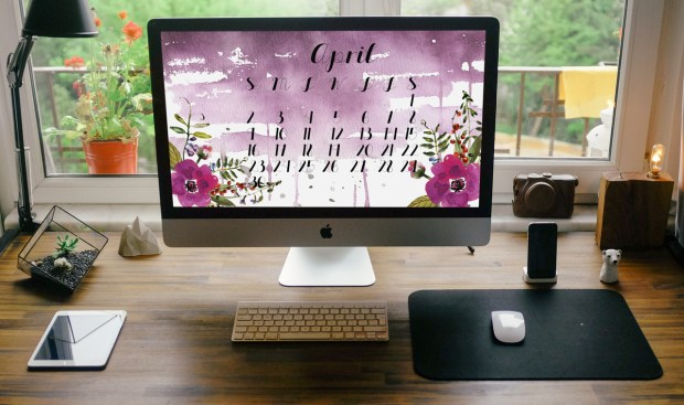 April 2017 desktop calendar for subscribers to my Friends and Collectors List. Carmen Whitehead Designs