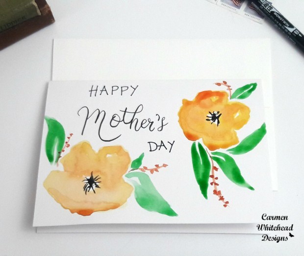 Original watercolor card created by Carmen Whitehead Designs