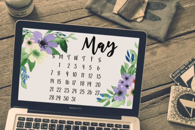 May 2017 desktop calendar for subscribers of my Friends and Collectors List