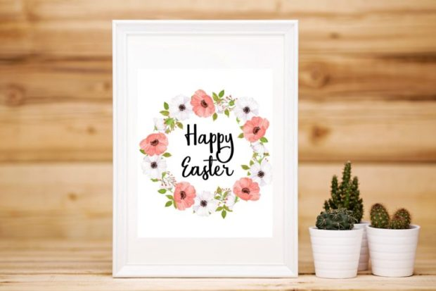 Happy Easter floral wreath, free printable by Carmen Whitehead Designs