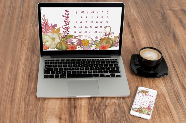 October 2018 Desktop and Mobile Calendar - Carmen Whitehead Designs