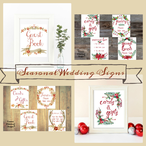 Seasonal Wedding and Bridal Party Signs - Carmen Whitehead Designs