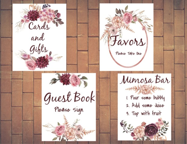 New Bridal Shower signs, Burgundy flowers