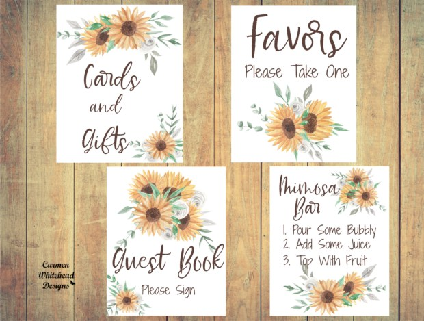 New Bridal Shower Signs, Sunflower Collection.