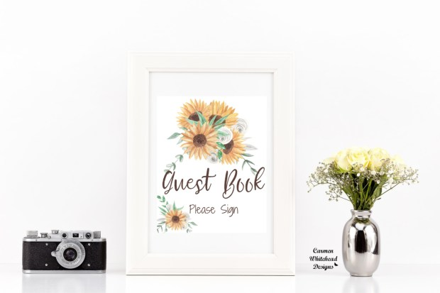 New Bridal Shower Signs, Sunflower Collection