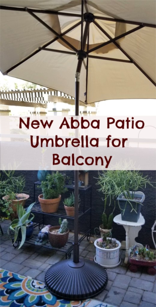 New Abba Patio umbrella for my balcony - Carmen Whitehead Designs - coupon code for 15% off