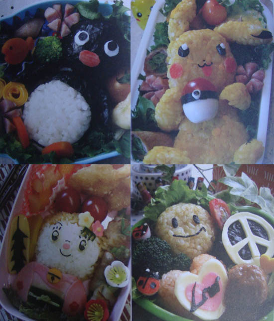 Japan bento boxes of cute decorated characters, or charaben. Creative packed lunches for school children.