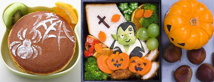 Japanese cute school lunches for kids, food arrangement techniques.