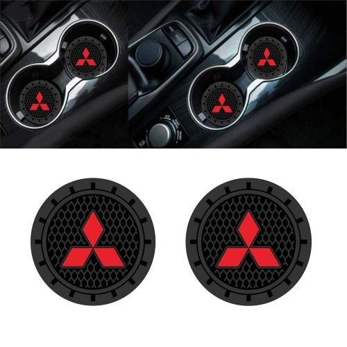 Auto sport 2.75 Inch Diameter Oval Tough Car Logo Vehicle Travel Auto Cup Holder Insert Coaster Can 2 Pcs Pack (Mitsubishi)