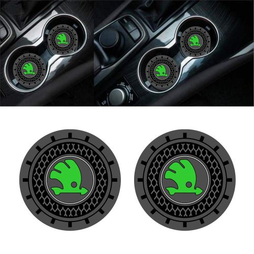 Auto sport 2.75 Inch Diameter Oval Tough Car Logo Vehicle Travel Auto Cup Holder Insert Coaster Can 2 Pcs Pack (Skoda)
