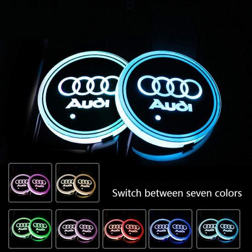 2pcs LED Car Logo Cup Holder Pad Waterproof Bottle Drinks Coaster Built-in Light 7 Colors Changing USB Charging Mat LED Cup Mat Car Atmosphere Lamp fo
