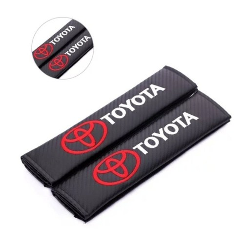 2PCS Car Seat Belt Shoulder Pad Safety Belt Cover For Toyota (All Car Model) Auto Carbon Cloth