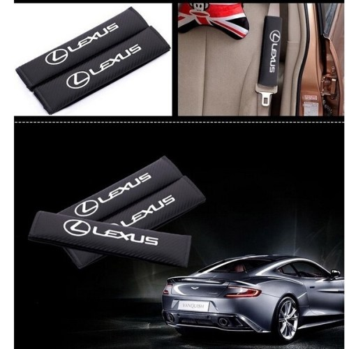 2 piece/set luxury brand design black Seat Safety Belts cover imitate carbon fabric for Lexus