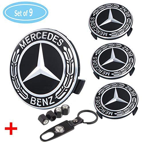 4 Pack for Benz Wheel Center Caps Emblem-Black, 75mm Benz Rim Hub Cover Logo + 4 Pack Valve Covers Fit for Mercedes Benz All Models Benz Emblem