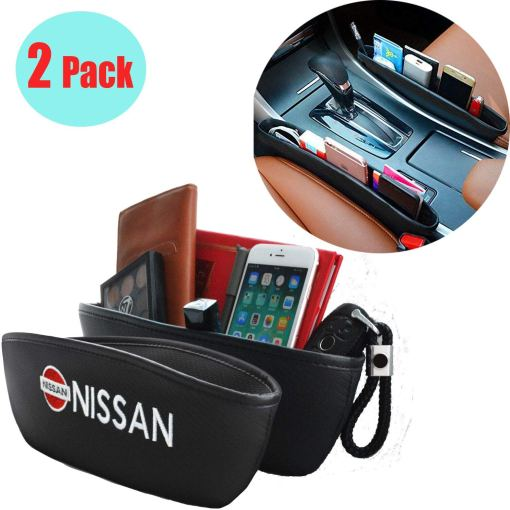 2 Pack Car Seat Gaps Fills Storage Pockets,with Carbon Fiber Grain PU Leather Embroidery Nissan Logo,Car Seat Crevice Storage Box Organizer for Fixing