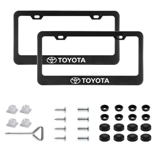 2Pcs Newest Matte Aluminum Alloy TRD Logo License Plate Frame,with Screw Caps Cover Set,Applicable to US Standard car License Frame, for Toyota.(Black)