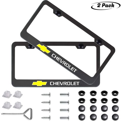 2pcs Newest Matte Aluminum Alloy License Plate Frame ,with Screw Caps Cover Set Suit,Applicable to US Standard car License Frame, for Chevrolet