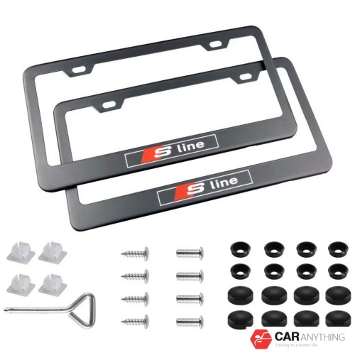 Stainless Steel License Plate Frame with Screw Caps Cover Set for Audi S line, Black (2 Pieces)
