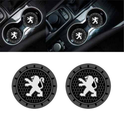 Auto sport 2.75 Inch Diameter Oval Tough Car Logo Vehicle Travel Auto Cup Holder Insert Coaster Can 2 Pcs Pack (Peugeot)