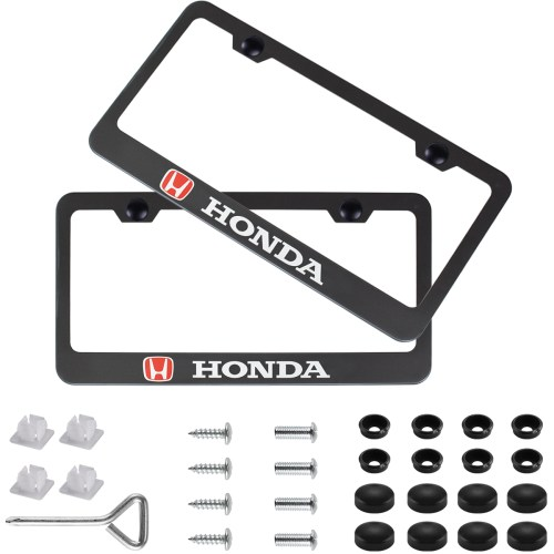 Car License Plate Frame for Honda,2 Pack Stainless Steel Auto Plate Frames Frames to Protect Plates,with Screw Caps Cover Set Suit