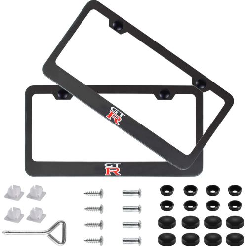 2pcs GTR Stainless Steel License for Nissan Plate Frame with Screw Caps Cover Set, Matte Black