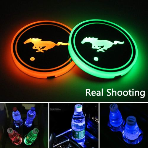2pcs LED Car Cup Holder Lights, 7 Colors Changing USB Charging Mat Luminescent Cup Pad, LED Interior Atmosphere Lamp for (Mustang-2)