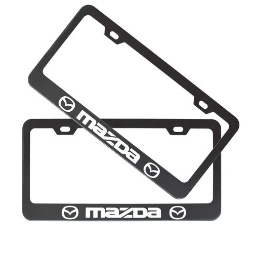 2pcs Stainless Steel License for Mazda, Plate Frame with Screw Caps Cover Set, Matte Black