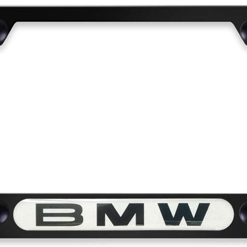 2pcs Newest 3D Matte Aluminum Alloy BMW License Plate Frame,Fits to US Standard Car License Frame with Screw Caps Fit BMW All Models