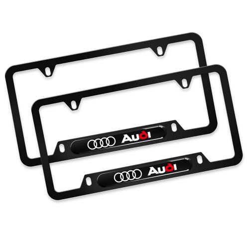 2Pcs Newest Custom Personalized 4 Hole Matte Aluminum alloy Audi Logo License Plate Framewith Screw Caps Cover Set,Applicable to US Standard car Licen