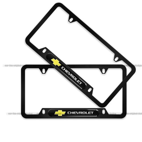 2-Pieces Chevrolet License Plate Frame,Logo Before and After High-Grade Stainless Steel Resin Logo License Plate Frame for Chevrolet