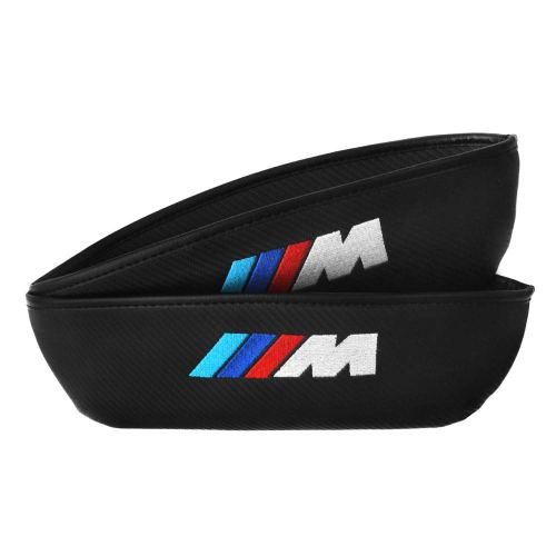 2Pcs M Logo Carbon Fiber Car Seat Gap Filler Premium Seat Console Organizer for BMW, Car Pocket Organizer,Car Seat Side Drop Caddy Catcher (BMW M)