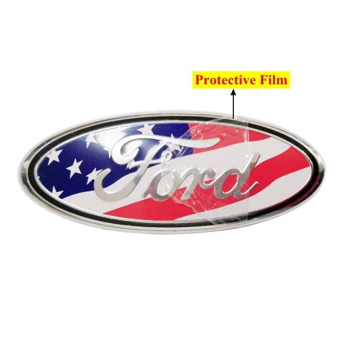 9inch American Flag Oval 9X3.5 2004-2014 F150 Black Decal Badge Nameplate Also Fits for 04-14 F250 F350,11-14 Edge,11-16 Explorer,06-11 Ranger YAUNLEL for Ford Front Grille Tailgate Emblem