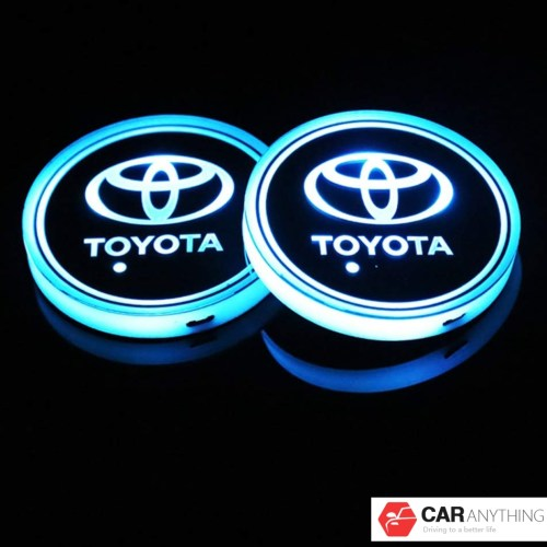 LED Car Cup Holder Lights for Toyota, 7 Colors Changing USB Charging Mat Luminescent Cup Pad, LED Interior Atmosphere Lamp(2pcs)