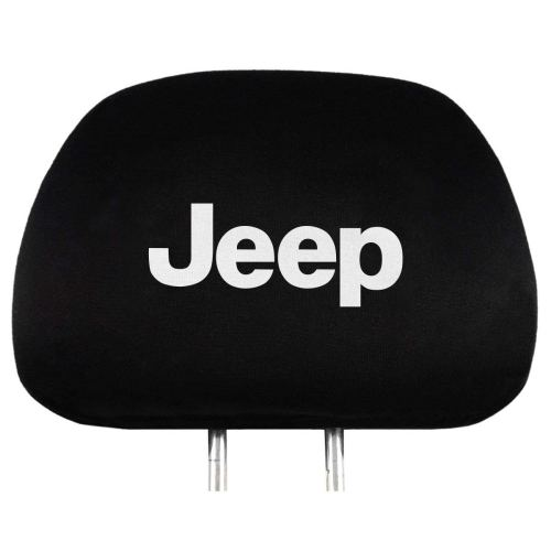 2Pack for Jeep Embroidered Black Gray Fabric Headrest Cover Set