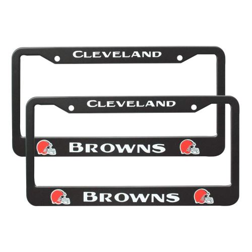 2Pcs 2 Holes Black Licenses Plates Frames For Cleveland Browns, Car Licenses Plate Covers Holders for US Vehicles (Cleveland Browns)