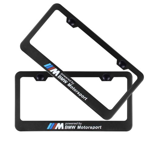 2pcs M Motorsport Style Stainless Steel License for BMW Plate Frame with Screw Caps Cover Set, Matte Black