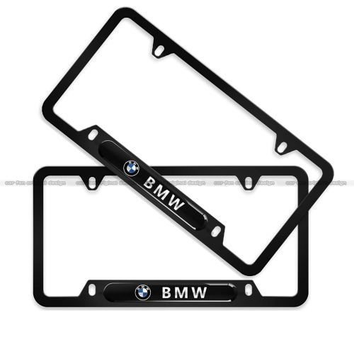2-Pieces BMW License Plate Frame,Logo Before and After High-Grade Stainless Steel Resin Logo License Plate Frame for BMW