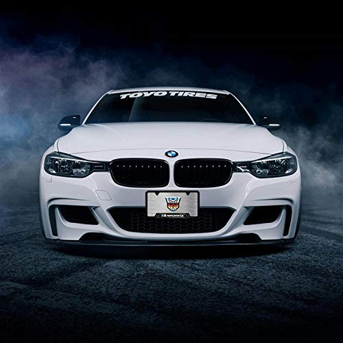 2-Pieces BMW M Performance Logo Before and After High-Grade Stainless Steel Resin Logo License Plate Frame for BMW