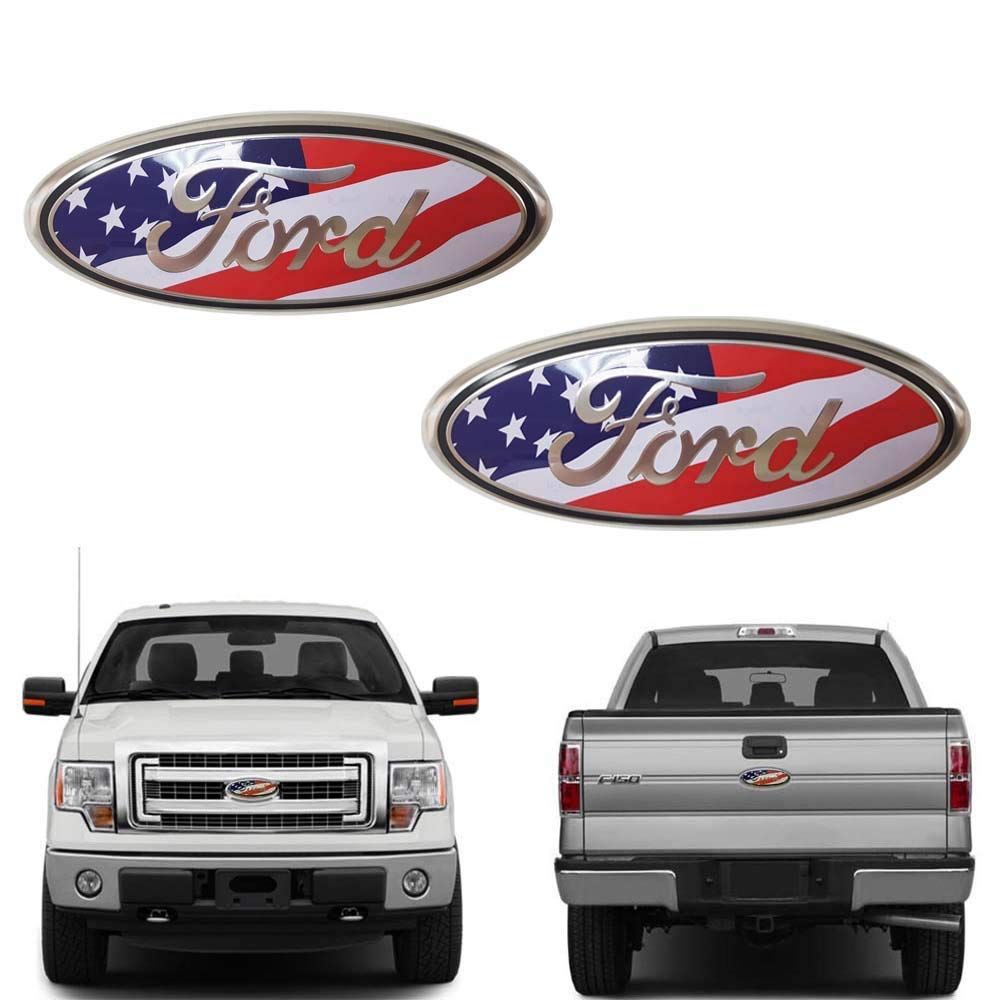 06-11 Ranger Front Grille Tailgate Emblem 11-14 Edge Decal Badge Nameplate for 04-14 F150 F250 F350 Oval 9X3.5 11-16 Explorer American Flag