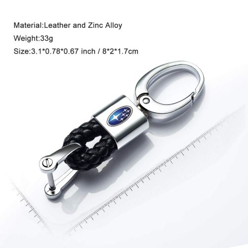 Genuine Leather Car Logo Keychain for Subaru Key Chain Keyring with Subaru Logo