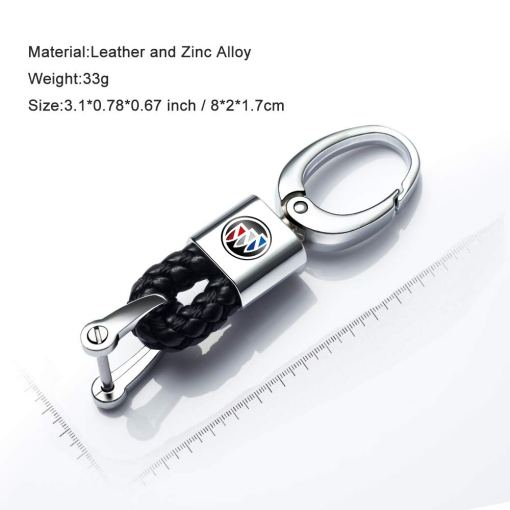 2 Pack Genuine Leather Car Logo Keychain for Buick Key Chain Accessories Keyring with Logo