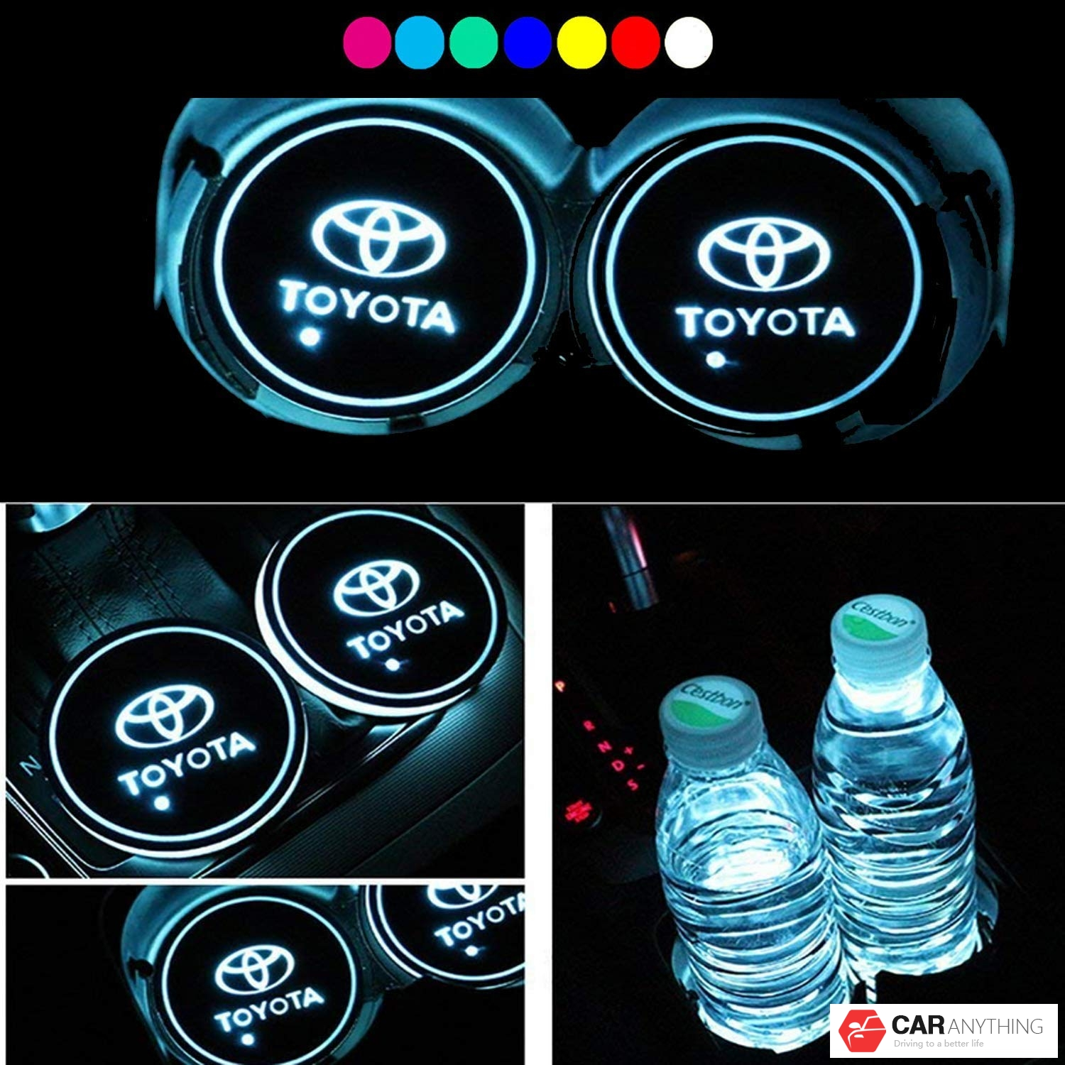 T-o-y-o-t-a- LED Interior Atmosphere Lamp for All car Logo 2pcs LED Car Logo Cup Holder Lights,7 Colors Changing USB Charging Mat Luminescent Cup Pad