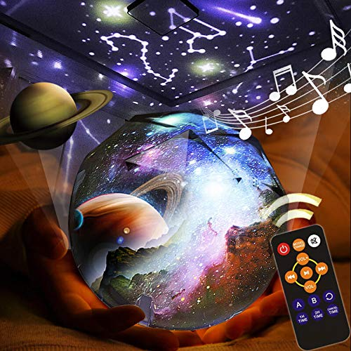 KISTRA Remote Star Projector Night Light for Kids Room (6-Films), Infant Sleep Sound Machine 360° Rotating LED Starry Sky Nightlight, Music Player (18 Songs), Timer, Table Lamp, Best Gifts, SBall-002