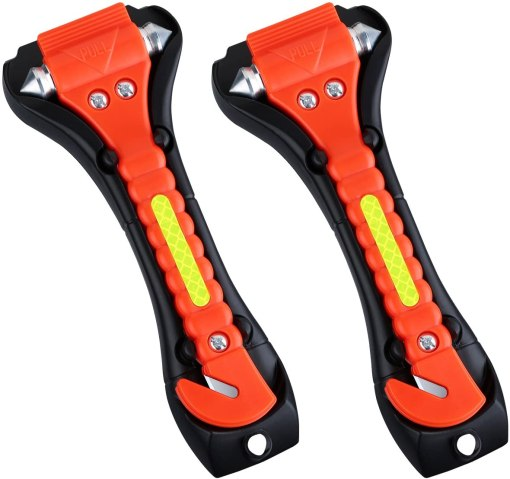 VicTsing 2 Pack Car Safety Hammer, Emergency Escape Tool with Car Window Breaker and Seat Belt Cutter, Life Saving Survival Kit