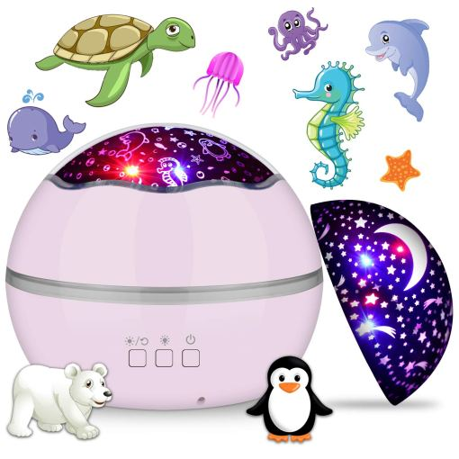 360° Rotating Night Light Projector for Kids, MIANTANG 2 in 1 Starry Sky and Sea World, 8 Colors Baby Night Lights Projector, Best Gift for Children Bedroom Birthday Party Festival (Pink)
