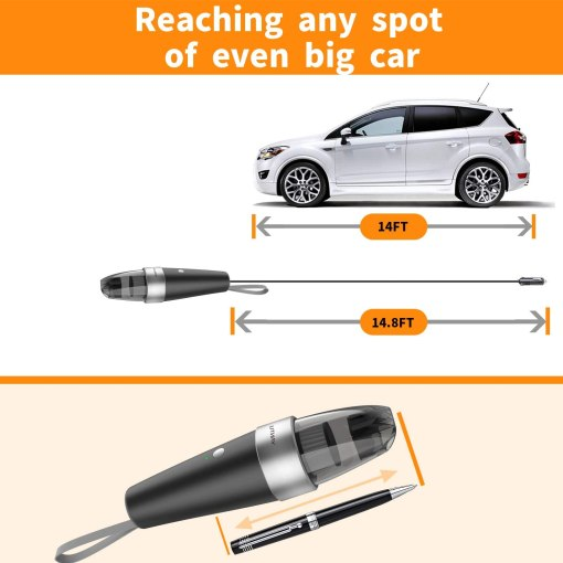 Car Vacuum, YANTU Car Vacuum Cleaner High Power 7000PA Mini Handheld Portable Corded Small Vacuum for Quick Car Cleaning, DC 8.4V Portable Auto Vacuum Cleaner for Wet Dry with 2in1 Brush