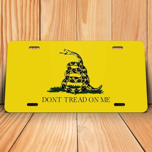 Gadsden Flag Don't Tread On Me Flag License Plate Tag Vanity Novelty Metal | UV Printed Metal | 6-Inches by 12-Inches | Car Truck RV Trailer Wall Shop Man Cave | VLP497